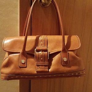 Cognac brown leather purse